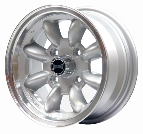 ULTRALITE WHEELS (Ford) 13x6J - ET10 - 4x108 PCD - SILVER WITH POLISHED RIM / SPML2F