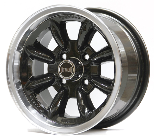 ULTRALITE MINI WHEELS 13x6J - ET10 - 4x101.6 PCD - BLACK WITH POLISHED RIM / SPML2BK